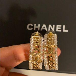 Chanel Pearl Hoop Earrings